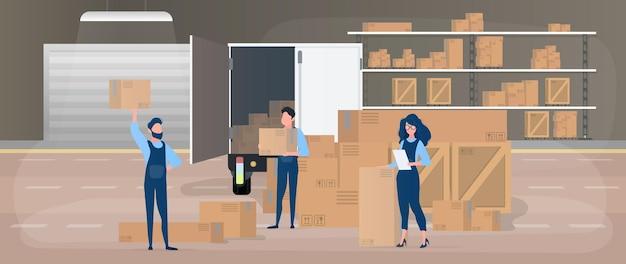 Leveringsteam. groot magazijn. verhuizers met dozen. het meisje met de lijst. het concept van het verplaatsen, vervoeren en afleveren van goederen. .