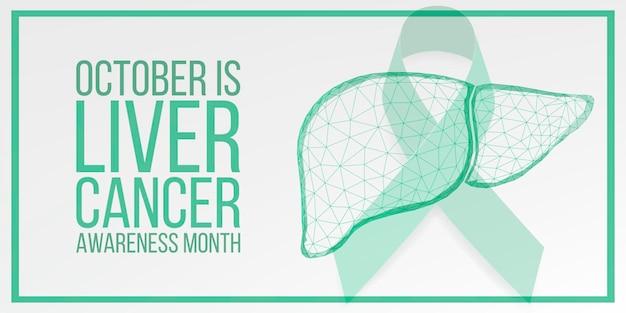 Leverkanker awareness maand concept. banner met smaragdgroen lintbewustzijn en tekst. vector illustratie.