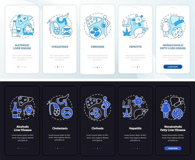 Leverproblemen bij het instappen op het paginascherm van de mobiele app met concepten