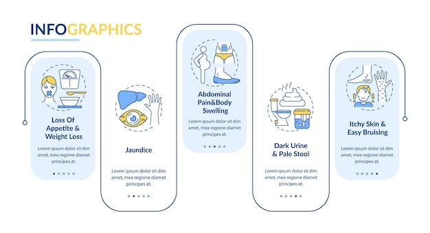 Leverziekte tekenen vector infographic sjabloon. abnormale pijn, ontwerpelementen voor donkere urinepresentatie. datavisualisatie in 5 stappen. proces tijdlijn grafiek. workflowlay-out met lineaire pictogrammen