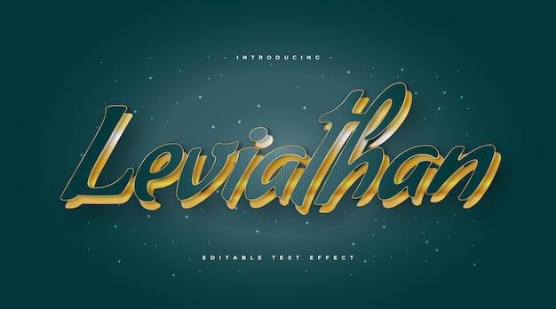 Leviathan-tekst in blauwe en gouden stijl met reliëfeffect