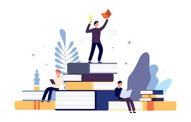 Lezen concept. mensen lezen boeken, creatieve studenten hebben een nieuw idee uit een boek. geïnteresseerde man in het leren van literatuur, jongens met schoolboeken vector illustratie. mensen lezen boeken, studenten studeren