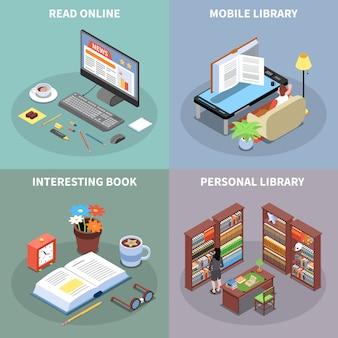 Lezen en bibliotheekconceptenpictogrammen die met mobiele isometrische geïsoleerd bibliotheeksymbolen worden geplaatst