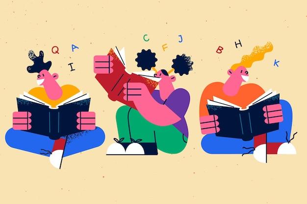 Lezen van boeken onderwijs creatieve ideeën concept