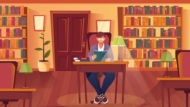 Lezen van boeken platte compositie met bibliotheek interieur boekenkasten planken en tafel met lamp en lezen man