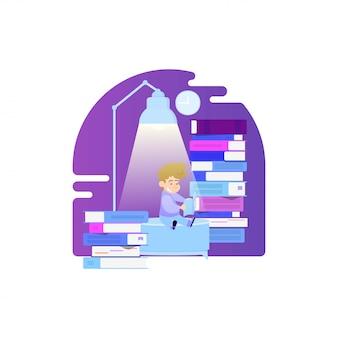 Lezen van boeken vlakke stijl illustratie