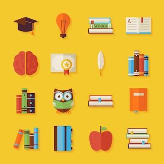 Lezen van kennis en boeken objecten instellen met schaduw. vlakke stijl vectorillustraties. terug naar school. wetenschap en onderwijs set. verzameling van objecten op gele achtergrond