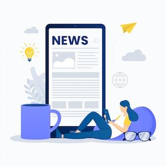 Lezen van online nieuws illustratie concept