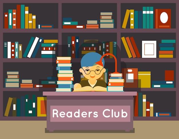 Lezersclub. onderwijs en liefde voor het lezen van concept. boek in bibliotheek, kennis en studie, literatuur en leren,