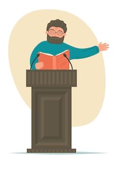 Lezing. spreker met boek praten op podiumtribune.
