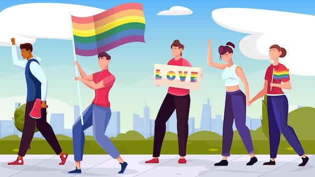 Lgbt-gelijkheidsflat met groep mensen die deelnemen aan de trotsparadeillustratie
