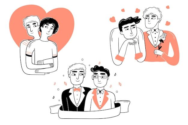 Lgbt-gemeenschap. doodle vector achtergrond met homo, transgender en biseksueel.