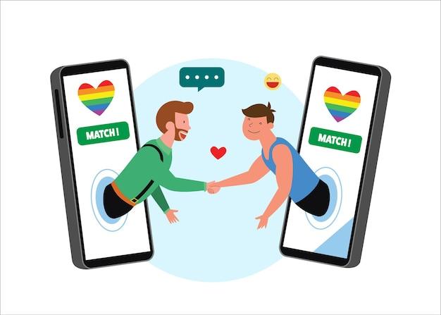 Lgbt-homo's die handen schudden via mobiel met regenboogvlaggen.