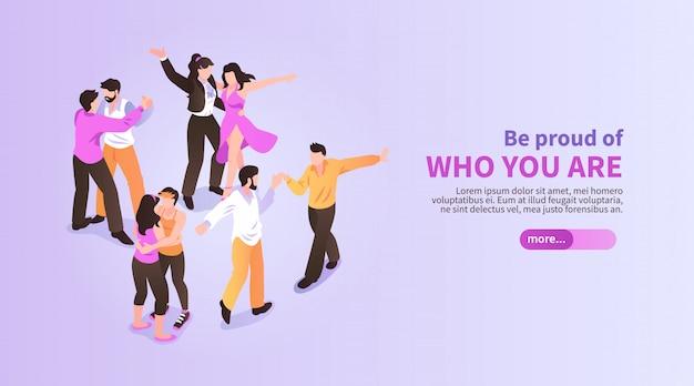 Lgbt horizontale isometrische banner met dansende homoseksuele 3d paren