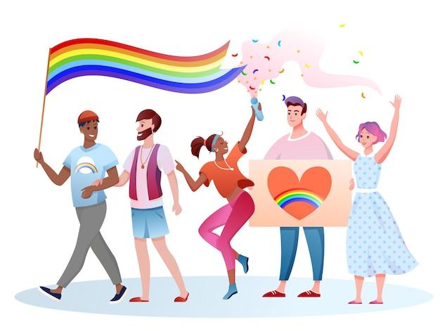 Lgbt-parade. homoseksuele mensen nemen deel aan de mensenrechtenparade met een lgbt-regenboogvlag