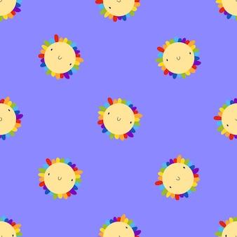 Lgbt-patroon met kleurrijke bloemen in trendy vlakke stijl