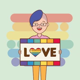 Lgbt-persoon met liefdebord