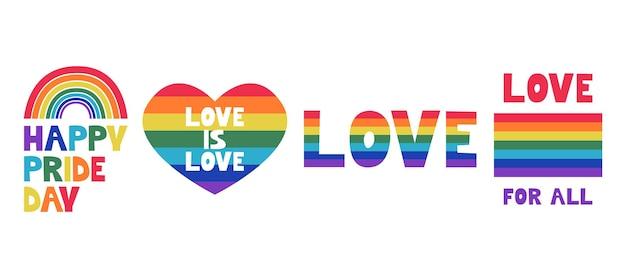Lgbt pride month in juni een set met een hart, een vlag, een regenboog en inscripties