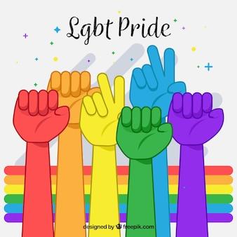 Lgbt-trotsachtergrond met kleurrijke handen