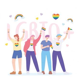 Lgbtq-gemeenschap, activisten die deelnemen aan lgbtq-trots met illustratie van regenboogvlaggen