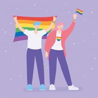Lgbtq-gemeenschap, gelukkig meisje en jongen met regenboogvlaggen, homoparade protest tegen seksuele discriminatie