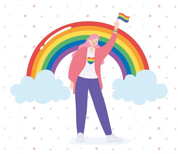Lgbtq-gemeenschap, gelukkige vrouw met vlag en regenboog, homoparade protest tegen seksuele discriminatie