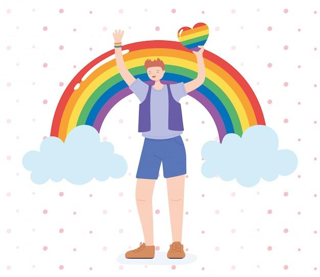 Lgbtq-gemeenschap, homo met hart en regenboogviering, parade protest tegen seksuele discriminatie