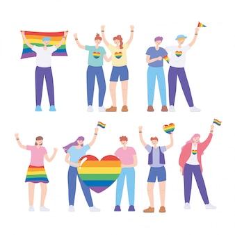 Lgbtq-gemeenschap, homoseksuele mensen met vlag en hartregenboog, homoparade protest tegen seksuele discriminatie