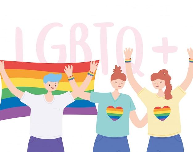 Lgbtq-gemeenschap, lesbiennes en man met regenboogvlag, homoparade protest tegen seksuele discriminatie