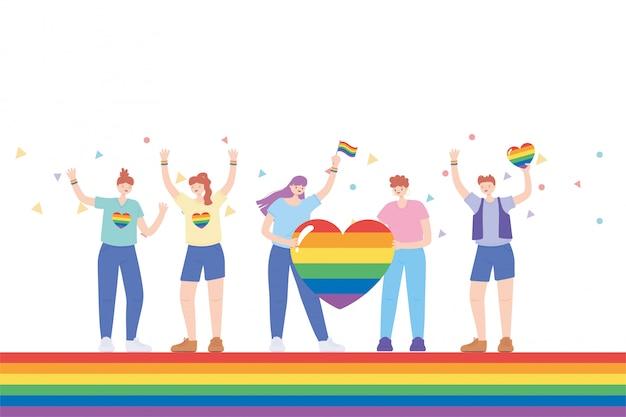 Lgbtq-gemeenschap, mensen met kleren en vlaggen regenboogkleur, homoparade protest tegen seksuele discriminatie