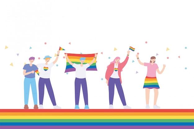 Lgbtq-gemeenschap, vieren groep jongeren met hart vlag kleding met regenboog, homoparade seksuele discriminatie protest illustratie
