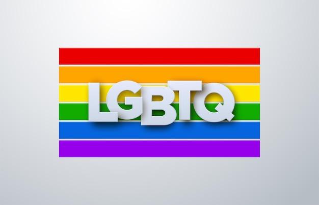 Lgbtq-papier ondertekenen op de achtergrond van de regenboogvlag