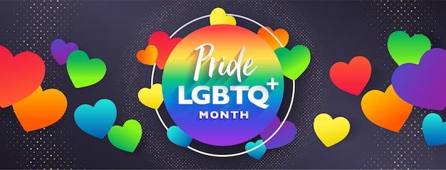 Lgbtq pride maandvoorblad met regenboog in papierstijl