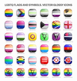 Lgbtq pride vlaggen 3d glanzende pictogrammen instellen
