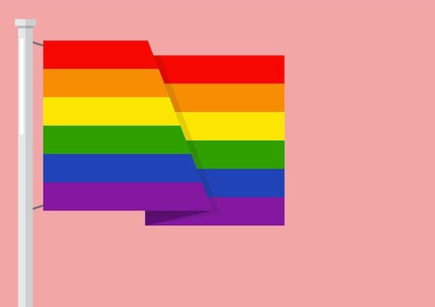 Lgbtq-regenboogvlag met copyspace. vector illustratie