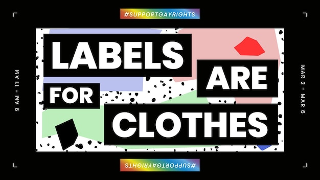 Lgbtq-sjabloonvector met labels is voor kledingcitaat voor blogbanner