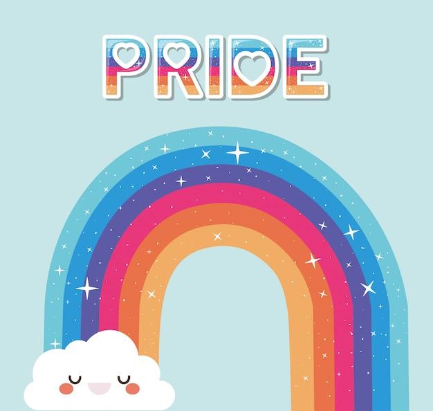 Lgtbi regenboog met kawaii wolk cartoon en trots tekstontwerp
