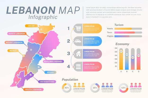 Libanon kaart met kleurovergang verdeeld