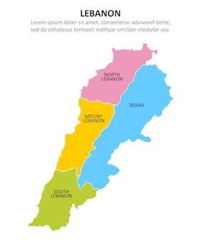 Libanon veelkleurige kaart met regio's.