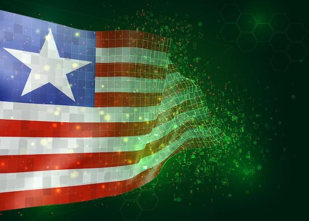 Liberia, op vector 3d vlag op groene achtergrond met veelhoeken en gegevensnummers