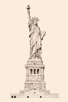 Liberty enlightening the world. standbeeld in new york amerika. potloodschets op een beige achtergrond.