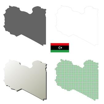 Libië vector overzicht kaart set
