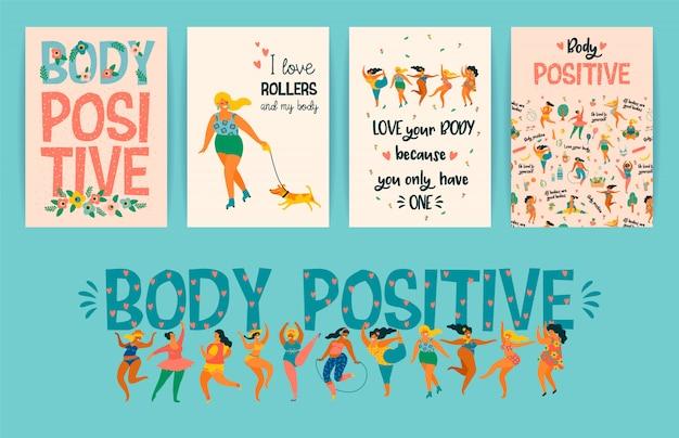 Lichaam positief. blije plus size meisjes en actieve gezonde levensstijl.