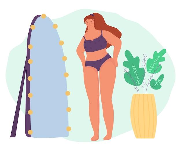 Lichaam positief. eigenliefde. een meisje bewondert zichzelf in de spiegel. schattig