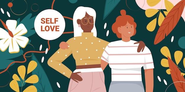 Lichaam positieve beweging meisjeskracht en schoonheid diversiteit met mooie vrouw vrienden