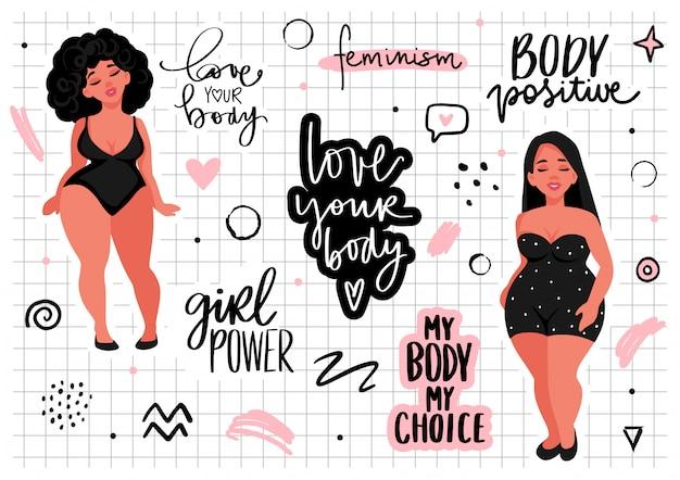 Lichaam positieve, feminisme sticker collectie. ik hou van je lichaam, meisjeskracht, mijn lichaam mijn regels - slogan van activisten.