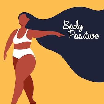 Lichaam positieve letters met afro vrouw perfect onvolmaakte vector illustratie ontwerp