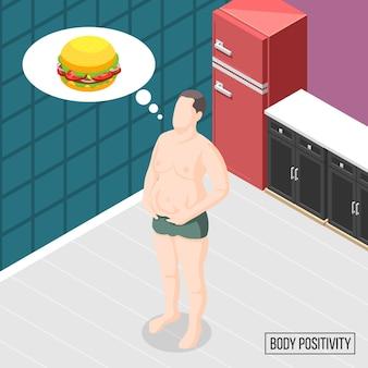 Lichaam positiviteitsbeweging met man denken in hamburgers