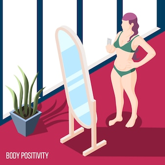 Lichaam positiviteitsbeweging met vrouw in de spiegel