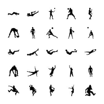 Lichaamsbeweging silhouetten vectoren pack